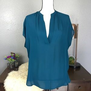 Vince Tops - Vince. Dark turquoise silk oversized v neck blouse